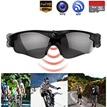 Camera on Glasses - 1080P Spy Video Sunglasses with Camera | Wide Angle View, Anti Glare Camera Glasses & UV Protection Eyewear,Lightweight Frame,Unisex Design - For Sports,Riding,Fishing,Motorcycle