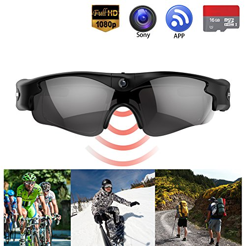 Camera Glasses - Gogloo Hands Free Action Camera Full HD 720P/1080P Tiltable 8MP Sony Camera with Polarized Lens Blue Light Blocking Glasses Great Outdoor Sports Camera Wearable Camera Video - Sunglasses Hd Camera
