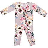 Posh Peanut One Piece Romper Silky Soft & Breathable - Premium Knit Infant Clothing - Bamboo Viscose (French Gray, 12-18 Months)