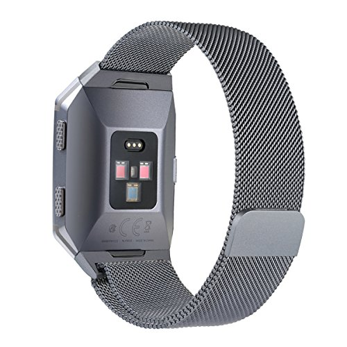 bayite for Fitbit Ionic Bands, Stainless Steel Milanese Loop Metal Replacement Strap with Unique Magnet Lock Accessories for Fitbit Ionic Small Smoke Gray