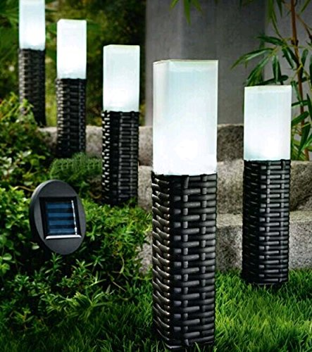 Outdoor Solar Lighting Reviews Wire For Design Sogrand 5Pack Hand Woven  Rattan Bollard Solar Light Pathway