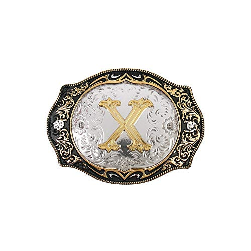 Western Belt Buckle Initial Letters ABCDMRJ to Z Cowboy Rodeo Gold Belt Buckles for Men Women (Multi Buckle Belt)