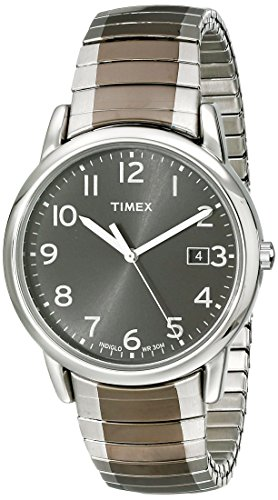 Timex Men's T2N949 Elevated Classics Stainless Steel Dress Watch with Two-Tone Expansion Band - Timex Gunmetal Watch