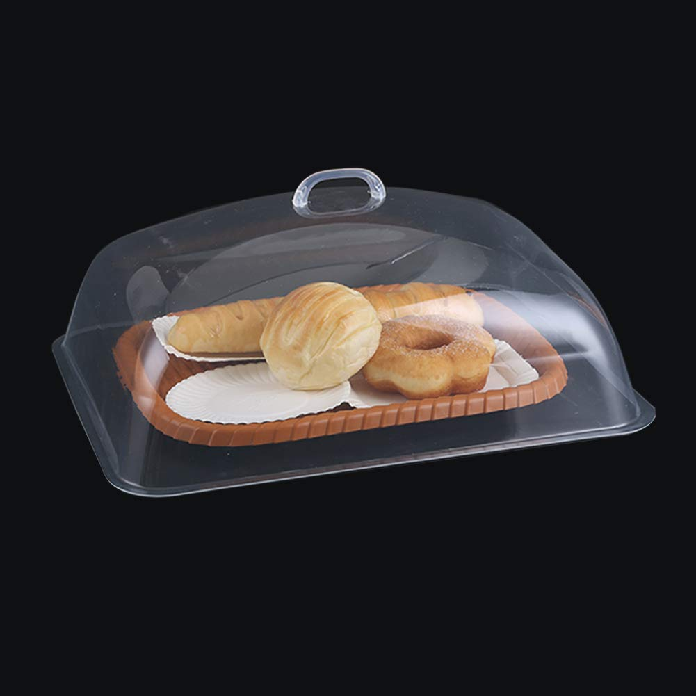 FEOOWV Plastic Transparent Food Anti-dust Lid,Dome Display Cover Use for Bakery Cake Bread Dessert Pastry Tray Cover (19.8x13.7x5.9inch/50.5x35x15cm)
