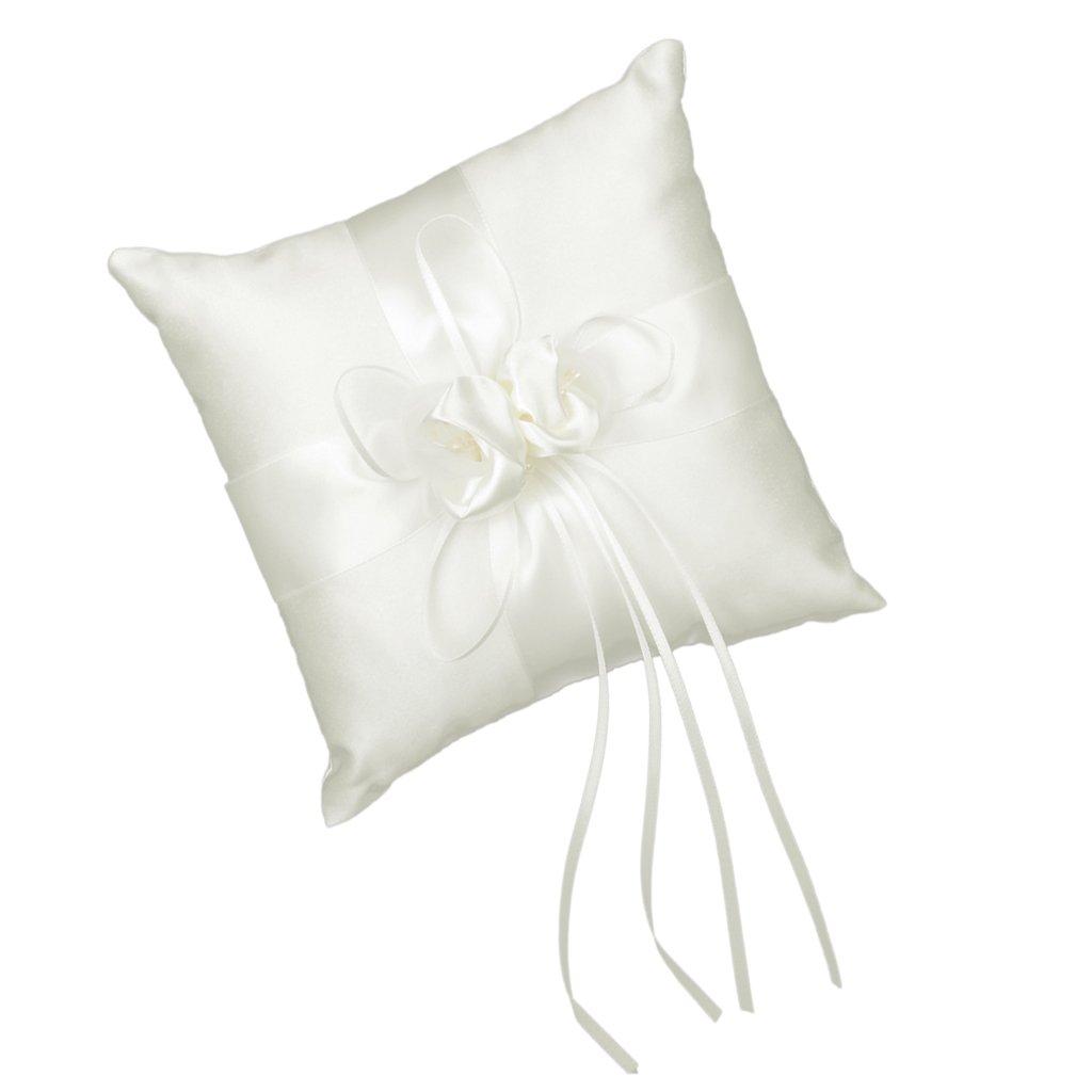 Coussin Porteur de Bague Orné de Bourgeon de Fleur 20 x 20cm pour Mariage - Ivoire Générique AMZN-PECE-Chain