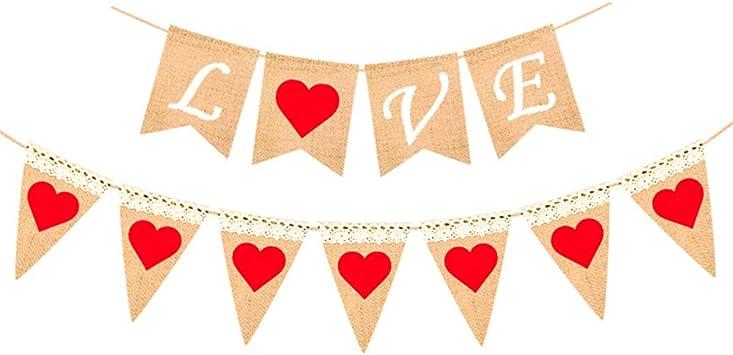 LOVE Burlap banner wedding bridal shower Valentine/'s Day