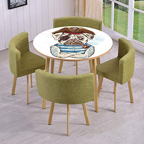 iPrint Round Table/Wall/Floor Decal Strikers,Removable,Pirate Pug Conqueror of The Seas Pipe Skulls and Bones Hat Striped Sleeveless T Shirt Decorative,for Living Room,Kitchens,Office Decoration