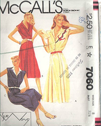 Sue Designer Wong Dresses (Mccalls 7060 Sewing Pattern. For SUE Wong Designer Shirtwaist Dress with Pleated Shoulder Vent and Button Bodice)