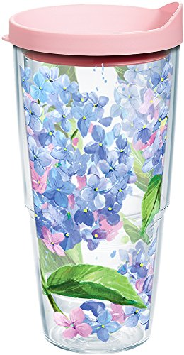 Tervis 1145101 Hydrangea Tumbler with Wrap and Pink Lid 24oz, (Tervis Tumbler Flowers)