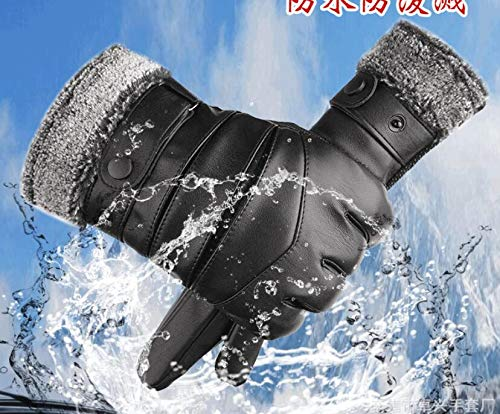 ZHOU XUE LI Touch Screen Warm and Windproof Cold Waterproof Winter Motorcycle Mens Leather Gloves