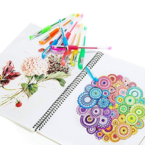 Color Gel Pens for Kid Adult Coloring Books, 24 Colors Gel Art Markers Fine Point Pen with 24 Refills for School Office Art Suppliers