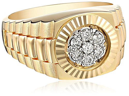 Men's 14k Yellow Gold with High Polished Finish Diamond C...