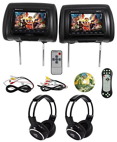 Rockville RDP711-BK 7 Car Headrest Monitors w/DVD/USB/HDMI + Games + Headphones