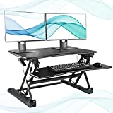 FEZIBO Black Height Adjustable Standing desk 36'' Stand up Converter | Sit to Stand Dual Monitor Desktop Riser