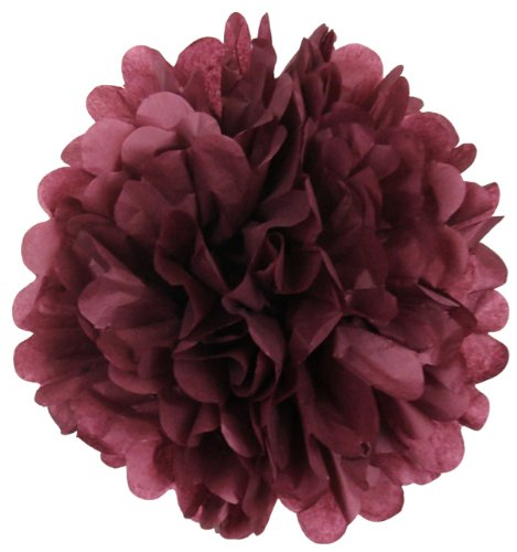 Tissue Pom Pom Paper Flower Ball 16inch Raisin -Just Artifacts Brand