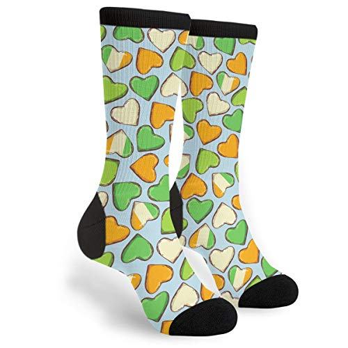 St. Patrick's Day Ireland Heart Men & Women Casual Cool Cute Crazy Funny Athletic Sport Colorful Fancy Novelty Graphic Crew Tube Socks ()