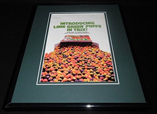 1991-trix-cereal-lime-green-puffs-11x14-framed-original-vintage-advertisement