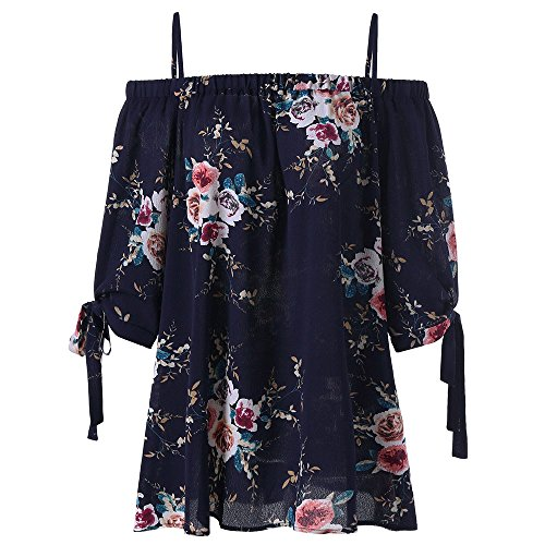 ZAFUL Women Plus Size Floral Classic Straps Cold Shoulder Regular Sleeve Blouse Shirt Top(Purplish Blue 2XL)