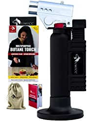 CLEARANCE fimicc Culinary Butane Torch Refillable with Two Type of Flames, Safety Lock & Adjustable Flame | Creme Brulee, Desserts & More-BONUS Cotton Bag, Recipe Booklet and E-book & Video