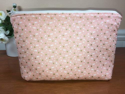 Large Peach Poladot Zipper Pouch, Cosmetic Bag, Travel Pouch