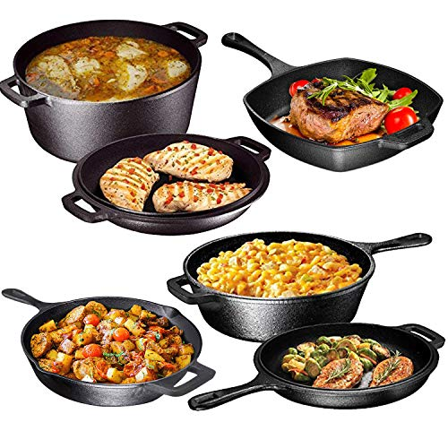 6 Endless Pot - Pre Seasoned Cast Iron 6 Piece Bundle Gift Set, Double Dutch, Multi Cooker, Skillet & Square Grill Pan, Camping Cookware Set