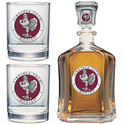 Virginia Tech Rocks Glass - Heritage Metalwork Virginia Tech VT Hokies Decanter and Whiskey Rock Glasses Set