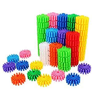 SHAWE Kids Toy, Coglets 80 Pieces Gear Interlocking Building Set,10 Various Colors,Learning Color Cognition,Make Wonderful World,Run Wild Imagination