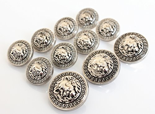 YCEE 11 Pieces Silver Vintage Antique Metal Blazer Button Set (weighty) - 3D Lion Head - For Blazer, Suits, Sport Coat, Uniform, Jacket from YCEEYY Studio