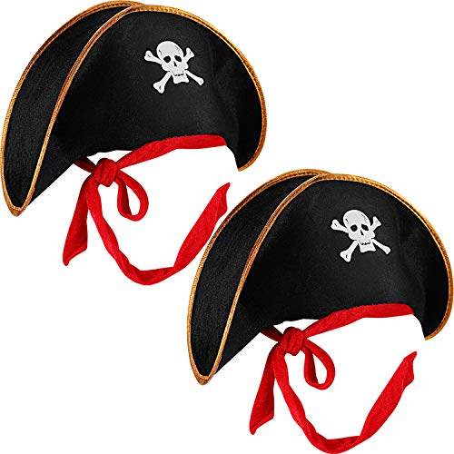 2 Pieces Pirate Hat Skull Print Pirate Captain