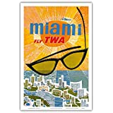 Miami, Florida - Trans World Airlines Fly TWA - Vintage Airline Travel Poster by David Klein c.1960s - Master Art Print - 12in x 18in