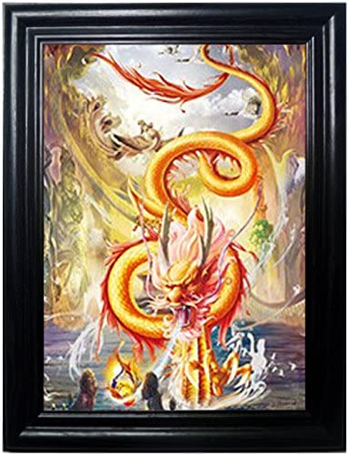 ASIAN DRAGONS FRAMED Wall Art-Lenticular Technology Causes The Artwork To Flip-MULTIPLE PICTURES IN ONE-HOLOGRAM Type Images Change-MESMERIZING HOLOGRAPHIC Optical Illusions By THOSE FLIPPING PICTURES