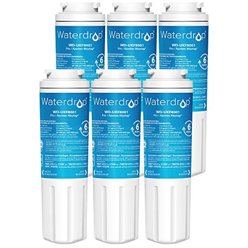 Waterdrop UKF8001 Refrigerator Water Filter, Compatible with Maytag UKF8001, UKF8001AXX-750, UKF8001AXX-200, Whirlpool 4396395, 469006, EveryDrop Filter 4, PUR, Puriclean II, EDR4RXD1, Pack of 6