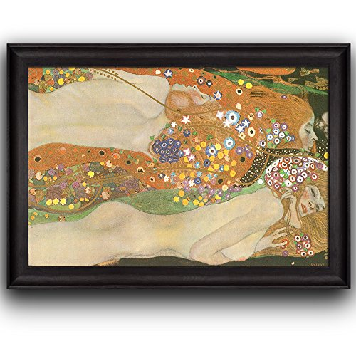 Wall26 - Water Serpents Ii Water Snakes by Gustav Klimt - Framed Art Prints, Home Decor - 24x36 (Gustav Klimt Water Serpents)