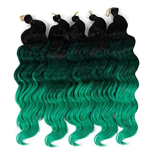 (Ocean Wave Crochet Braids Wavy Ombre Deep Twist Braiding hair Synthetic Hair Extensions (#Ombre)