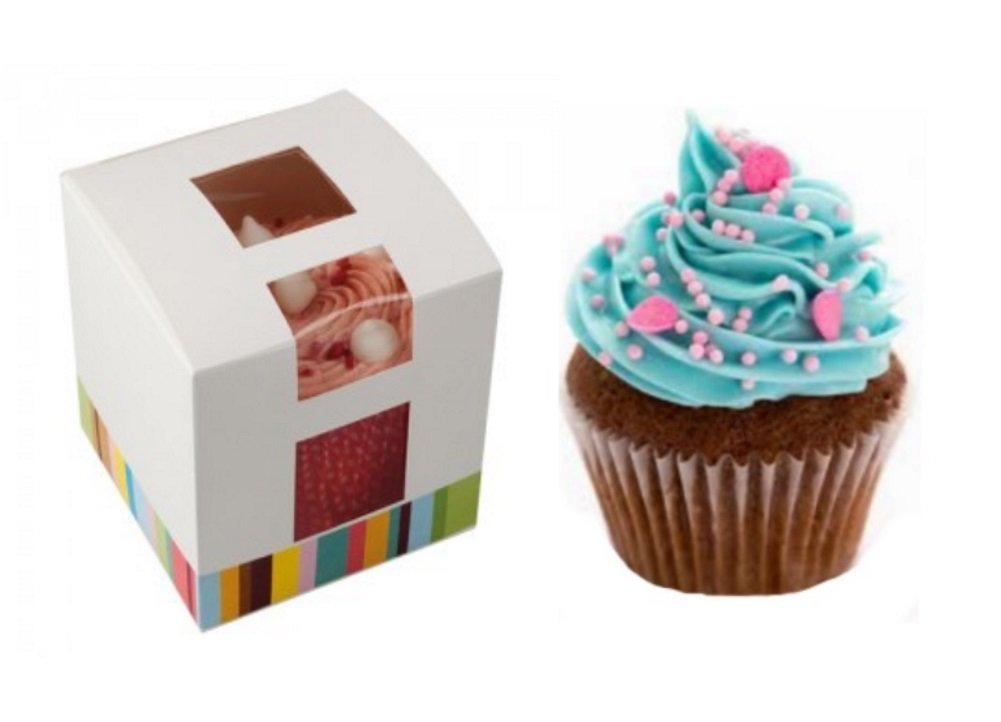 x20 ~ SINGLE CUPCAKE BOX ~ FAIRY CAKE HOLDER ~ MUFFIN POD CASE ~ INDIVIDUAL CUPCAKES