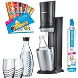 SodaStream Crystal 2.0 Promopack Glaskaraffen Wassersprudler zum Sprudeln von Leitungswasser, inkl. 1 Zylinder, 2 Glaskaraffen 0,6l (spülmaschinenfest), 2 Trinkgläsern und 6 Sirupproben; Farbe: Titan