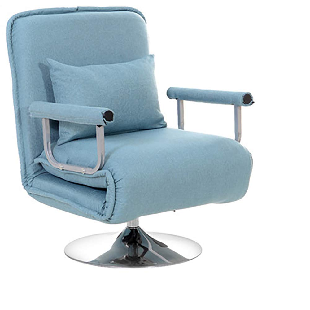 Blau GJC Lazy Faltendes Einzelnes Sofa Multifunktionslehnstuhlbürocomputerstuhl Drehbares Faules Sofa,Blau