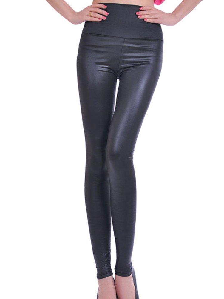 Pantalón Símil Cuero Mujer Cintura Alta Leggings Cuero Pu Pantalon Treggings Leggins