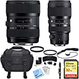 Sigma AF 18-35mm f/1.8 DC HSM + 50-100mm f/1.8 DC HSM Lens for Canon Deluxe Bundle includes Lenses, Bag, 32GB SDXC Memory Card, UV Filters, Cleaning Kit, Card Wallet, Beach Camera Cloth and More!