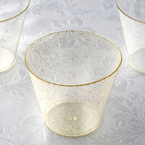 BalsaCircle 60 pcs 5 oz Gold Glittered Clear Plastic Wine Glasses - Disposable Wedding Party Catering Tableware