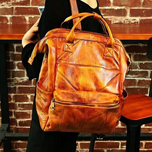 color Dell'allievo Daypack Ragazze Pelle Ploekgda High School Brown Leggeri Red Grande Di Delle Capacità Sacchetti Della Dello Zaino Bovina xB1Hpna1