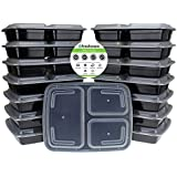 Freshware 15-Piece 3-Compartments Bento Lunch Box with Lids Set, 32 oz
