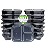Freshware 15-Pack 3 Compartment Bento Lunch Boxes with Lids - Stackable, Reusable, Microwave, Dishwasher & Freezer Safe - Meal Prep, Portion Control, 21 Day Fix & Food Storage Containers (32oz) (Kitchen)
