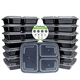 Freshware-15-Piece-3-Compartments-Bento-Lunch-Box-with-Lids-Set-32-oz