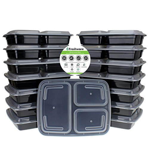 Freshware 15-Pack 3 Compartment Bento Lunch Boxes with Lids – Stackable, Reusable, Microwave, Dishwasher & Freezer Safe – Meal Prep, Portion Control, 21 Day Fix & Food Storage Containers (32oz)