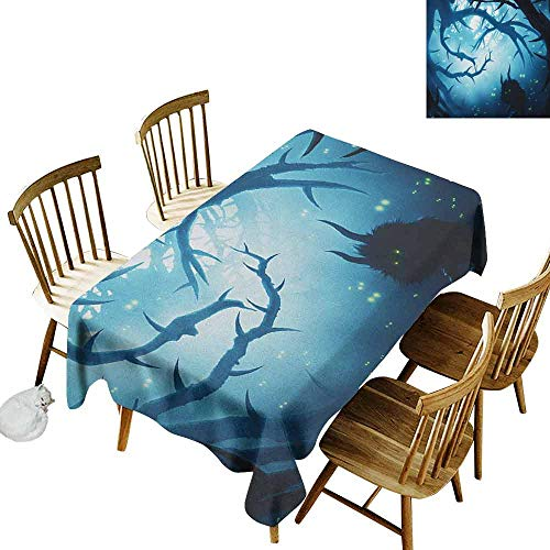 DONEECKL Mystic Leakproof Tablecloth Suitable for Buffet Table Animal with Burning Eyes in The Dark Forest at Night Horror Halloween Illustration Navy White W52 xL70 -