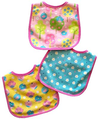 Neat Solutions 3 Pack Printed Interlock/ Water Resistant Feeder Bib, Girl from Neat Solutions