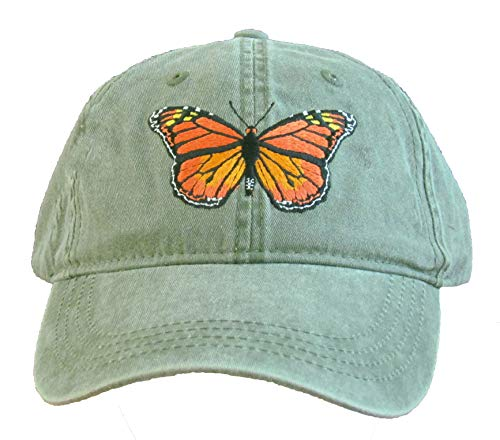 Monarch Butterfly Embroidered Cotton Cap Green ()