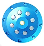 7-Inch PCD Cup Wheel Grinder 5/8''-7/8'' Arbor - 8 Large 1/4'' Segments - Poly Crystaline Cup for Removing Epoxy, Glue, Paint and Mastic