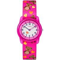 Timex Girls Time Machines Analog Elastic Fabric Strap Watch (Pink Bears)